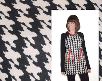 Hounds tooth  pattern black and white cream ponte knit by the yard