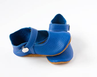 Blue Baby Shoes, Azure Baby Shoes, Baby T-Straps, Leather Baby Shoes, Newborn Crib shoes, Baby Gift, First Walkers, Baby Shoes