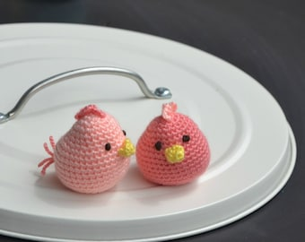 Amigurumi little birds. Handmade crochet soft toy. Unique gift for a boy or girl baby shower. Birthday party favors.