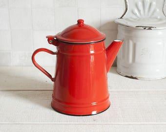 Cute Vintage Red Enamel Coffee Pot || French Mid Century Coffee Pot or Teapot - Retro Home Decor