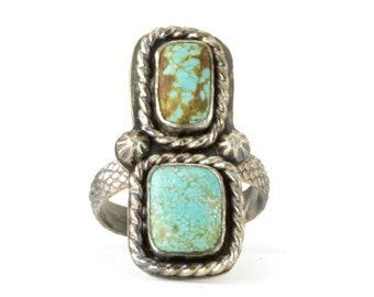 Turquoise Two Stone Ring - Sterling Bohemian Turquoise Statment Ring