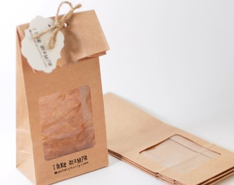Brown paper bags, Favor bags with window, Flat back bags, kraftpaper gift bags, food packaging with square window, 10x5.5x25 cm/4x2.2x8 in