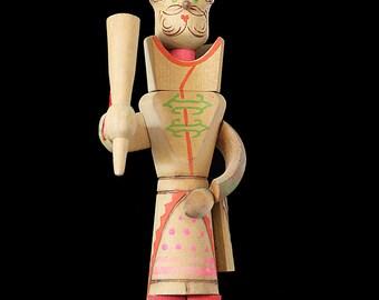 Vintage Wooden Saint Nicholas Santa Claus Figurine Handmade Hand Painted