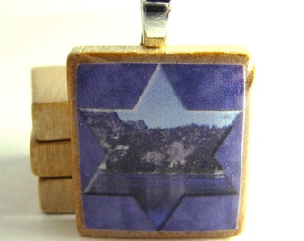 Star of David framing Pacific Northwest lake reflection- Scrabble tile pendant