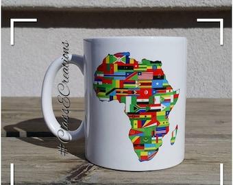 Africa Continent - Map of Africa - Custom Coffee Mug - Africa Mug - Personalized