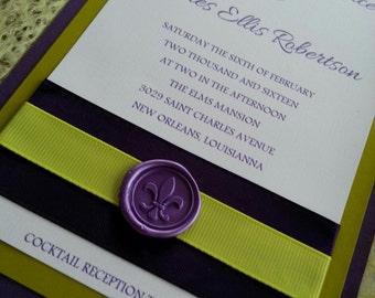 Purple and Green Mardi Gras Wedding Invitation Set Masquerade Wedding Invitation Set -  New Orleans theme Wedding Invitation Set
