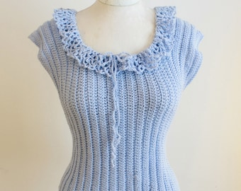 Beginner Ribbed Tank Top Crochet Pattern PDF