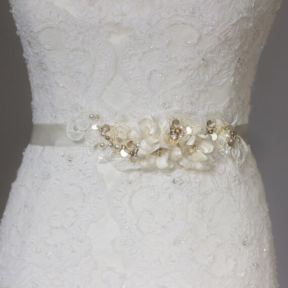 Gold bridal sash Wedding belt Lace bridal belt Gold wedding