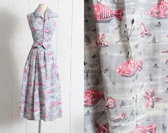 Vintage 1950s Skirt Set | vintage 50s novelty print sea life fish starfish cotton top blouse hawaiian | xs/s