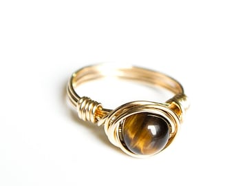 Meditation Ring - Worry Ring - Stress Ring - Protection Ring - Tiger Eye Ring - Courage Ring - Tiger Eye Jewerly - Protection Jewelry