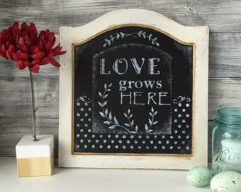 Word Art, Farmhouse Decor, one of a kind, repurposed art, Love grows here, black and white.