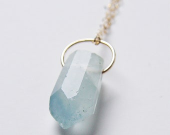Aquamarine Point Necklace Gold Filled OOAK