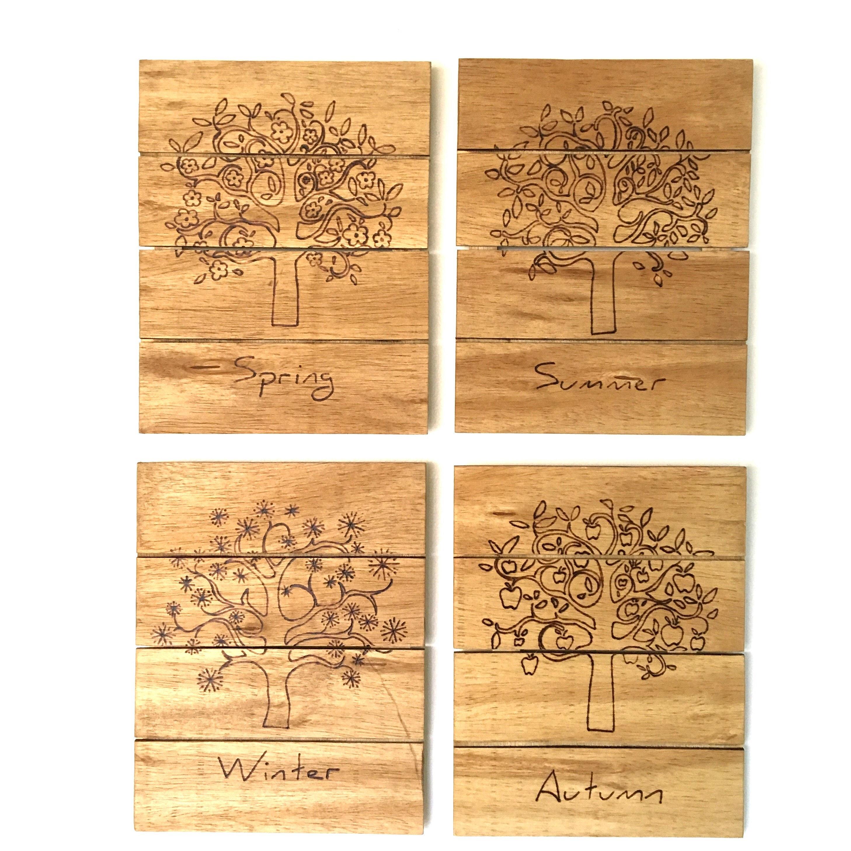 Vier Jahreszeiten Baum des Lebens Holz Zeichen Holz