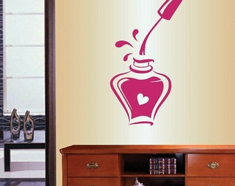 Wall Vinyl Decal Home Decor Art Sticker Nail Polish Bottle Manicure Nail Salon Shop Removable Stylish Mural Unique Design 144