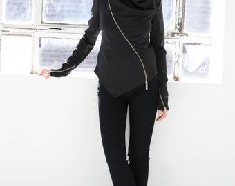Black Jacket / Summer Jacket / Zipper Jacket / Fitted Jacket / Asymmetrical Jacket / Cool Jacket / High Collar / Marcellamoda - MC0855