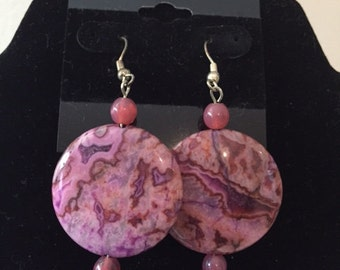 Fuchsia Crazy Lace Agate Earrings, Crazy Lace Agate Earrings, Agate Earrings, Fuchsia Earrings, Dangle Earrings, Natural Stone Earrings