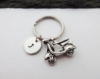 Scooter Keychain, Initial Scooter Keyring, Hand Stamped Keyring, Vespa Keyring, Bike, Scooter Gifts, Charm Keyring,Personalised,Scooter Gift