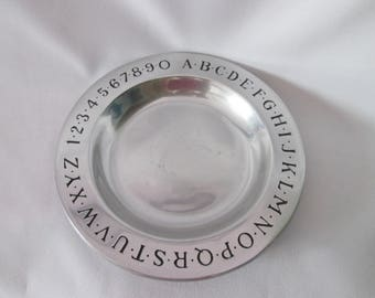 Vintage aluminum plate Decorative with numbers and letters / Vintage Plate with Ornamental aluminum figures and letters