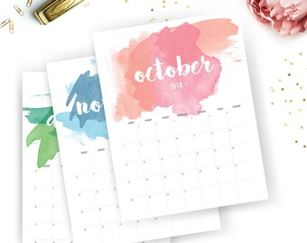 Printable 2018 Monthly Calendar - Printable Calendar - Watercolor Planner - Watercolor Printable - Instant Download - Print at home