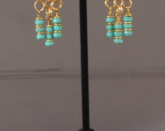 Chandelier Earrings, chainmail with aqua crystal rondelle drops
