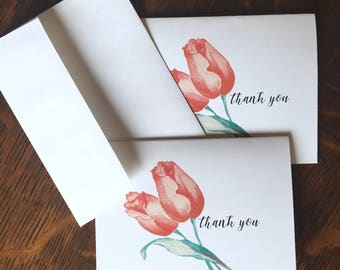 Tulips vintage Birthday gift ideas gift Vintage image thank you cards,Personalized stationery set,Tulips note cards,Thank you note cards