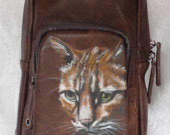 Men's Leather Messenger Crossbody Bag with YOUR PET handpainted on it