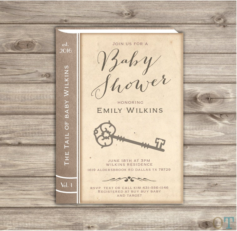 Vintage Baby Shower Invitations Story Book Old book Invitation