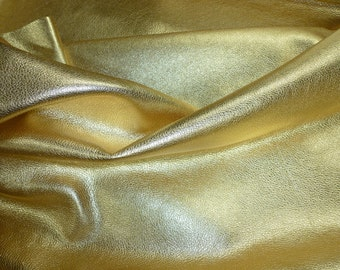 """GOLD Pebbled Metallic 12""""x12"""" SOFT cowhide - shows the grain - Leather 3-3.25 oz / 1.2-1.3 mm PeggySueAlso™ E4100-05 Full hides available"""