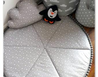 Play Mat, Baby Play Mat, Round Play Mat, Nursery Decor, Padded Baby Mat, Grey Baby Rug, Stars Floor Rug, Padded Play Mat, Stars baby Rug