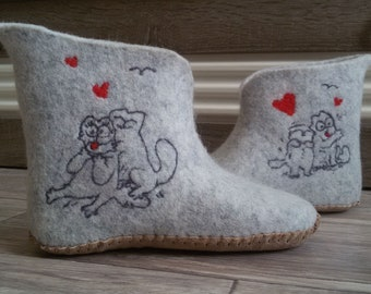 Felted home boots