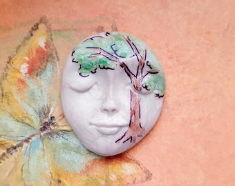 "SHADE TREE-Polymer Clay Face Cabochon,1 3/4"" by 1 3/8"",large focal,bead,flat back mosaic tile,art doll,bead,No hole,jewelry"