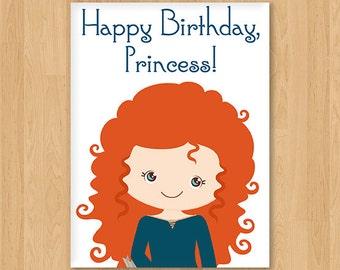 Merida Inspired Princess Birthday Card - Blank - Free shipping!