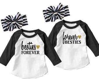 Matching Sister Shirts - Best Friends Bestie Besties Little Sister Shirt Set Baby Sister Big Little  Sibling Outfits