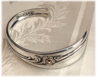 Spoon Cuff Bracelet, 1940 Meadow Flowers, Silverplate, Topaz Crystal,  Floral Scroll Design