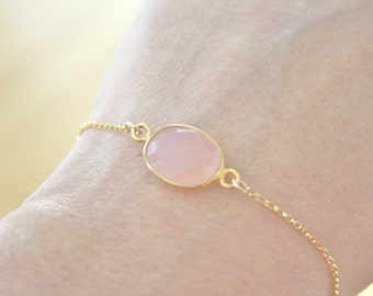 Opal Bracelet, Blush Wedding Gold Bracelet, Pink Blush Bracelet, Blush Wedding Bridesmaid Gift Bridal Jewelry Gifts for her best friend gift