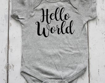 Hello World Newborn Outfit, Newborn Bodysuit, Newborn Clothes, Baby Shower Gift, Coming Home Outfit, Hospital Outfit, Newborn Clothing