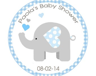 Printable Blue and Gray Elephant Baby Shower Round Sticker, Labels