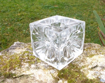 Glass Candle Holder by Rudolf Jurnikl. Sklo Union Mid Century Candle Holder Czech Art Glass with Daisy Floral Detail    (12)