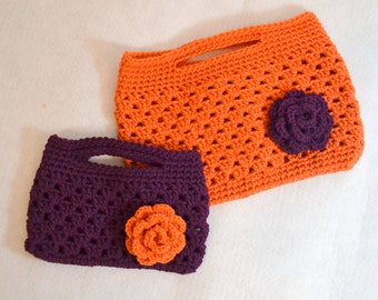 Mommy and Me Crochet Purse Set, Granny Crochet Clutch, Childs Purse, Ladies Crochet Rose Bag