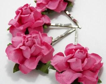 Candy Pink Rose Floral Hair Clip Set/ Bridal/ Wedding Hair Accessories/ Bridesmaid Bobby Pin/ Wedding Flower Pins
