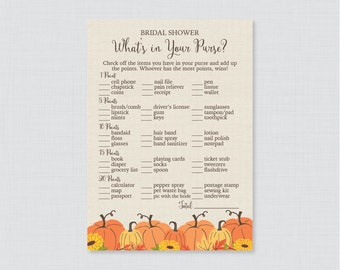 Pumpkin What's in Your Purse Game - Printable Rustic Fall Bridal Shower Purse Game - Autumn Pumpkin Bridal Shower Purse Raid Game 0019