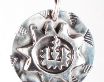 Mayan Sun Talisman - Fine Silver Pendant Del Sol Gift - Aztec Mayan Del Sol Pendant - Southwest Petroglyph Sun Necklace - Mayan Tribal Gift