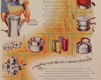 West Bend Aluminum Company Color-go Tumblers Bean Pot & more Housewife 1951 Print Ad Kitchen Art