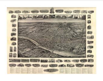 """New Brunswick New Jersey in 1910 Panoramic Bird's Eye View Map by Hughes & Bailey 22x17"""" Reproduction"""