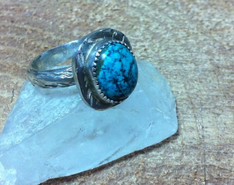 Turquoise ring 9-8, Southwestern Style, Sterling Silver ring, Handcrafted ring,Stocking Stuffer,