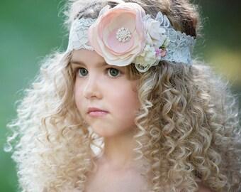 Flower girl headband, Girls Headbands, Baby headbands, couture headband, Baby girls headband Baby headbands lace headband Hair Bows wedding