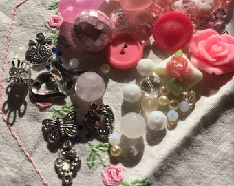Junk Journal Charm Kit pinks, whites, fuschia, cream, and silver tones 1a