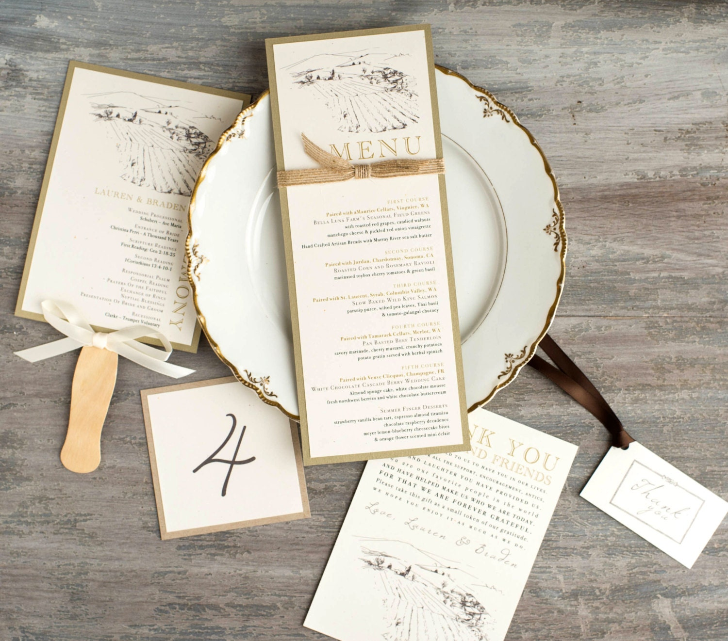 Farm To Table Wedding Menu Table Numbers Favor Tag Ceremony