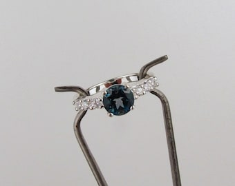 Sterling Silver London Blue Topaz Promise Friendship Ring Engagement Ring Everyday Ring 7mm Natural London Blue Topaz and CZ Accents