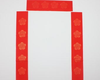 17x107cm Red Xuan Paper Couplets + Horizontal Scroll / 5 Characters Version / Five Good Fortune / 5 Sets - 0005C